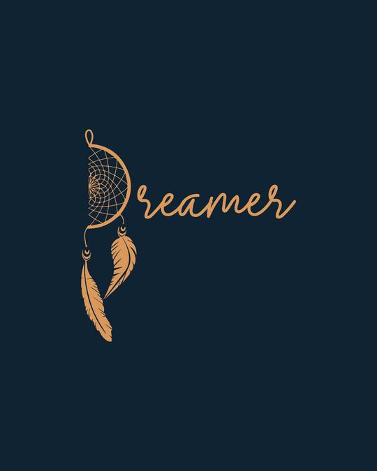 Shop Dreamer Feathers Half Sleeve Printed T-Shirt Navy Blue