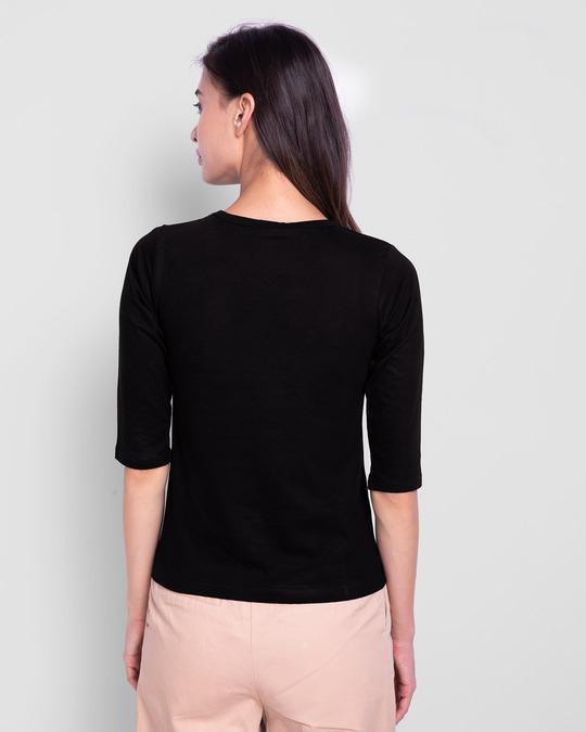 Shop Dreamer Feathers Round Neck 3/4 Sleeve T-Shirts Black-Design