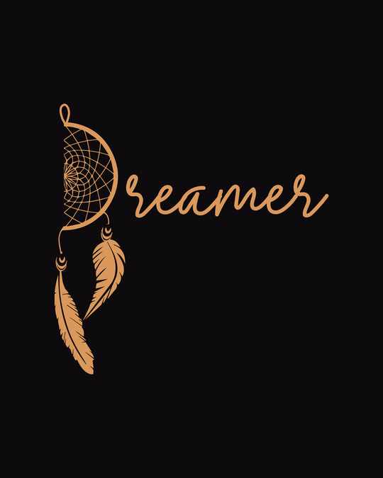 Shop Dreamer Feathers Round Neck 3/4 Sleeve T-Shirts Black