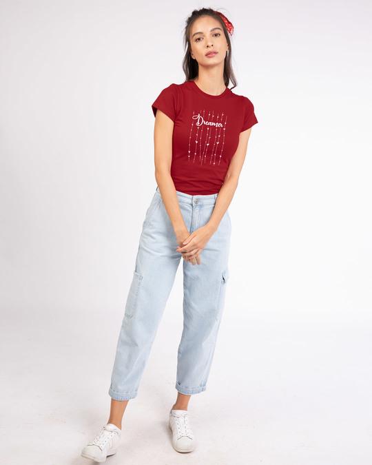 Shop Dreamer Hearts Half Sleeve T-Shirt-Full