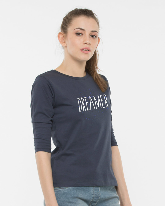 Shop Dreamer Typo Round Neck 3/4th Sleeve T-Shirt-Back