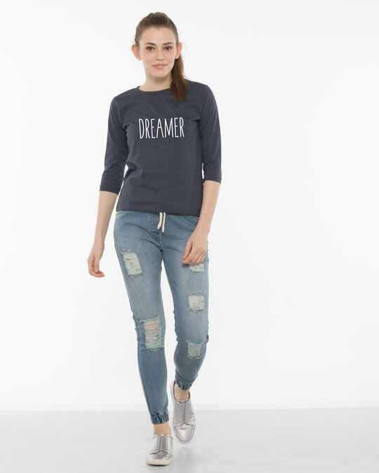 Shop Dreamer Typo Round Neck 3/4th Sleeve T-Shirt-Full