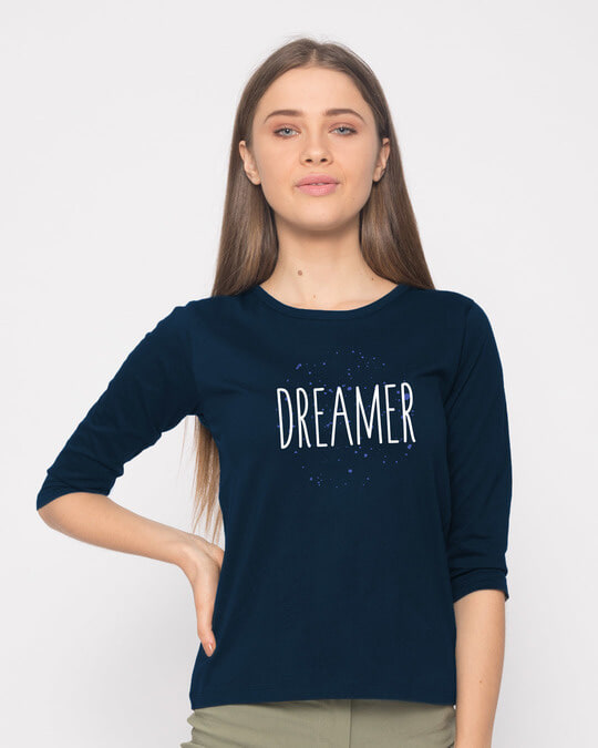 Shop Dreamer Typo Round Neck 3/4th Sleeve T-Shirt-Front