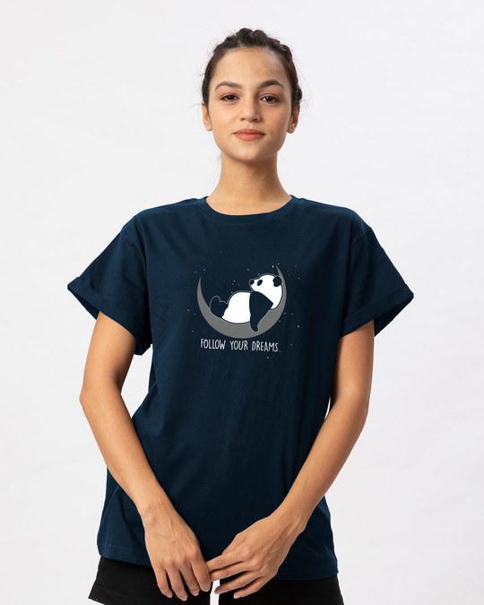 Shop Dreamy Panda Boyfriend T-Shirt-Front