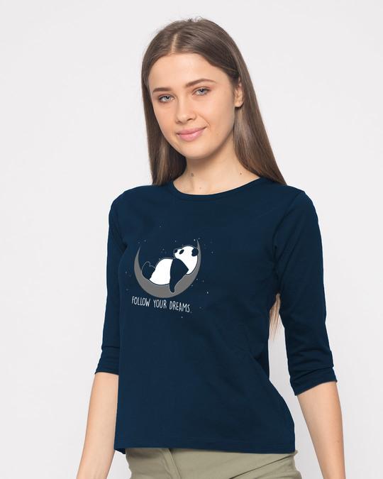 Shop Dreamy Panda Round Neck 3/4th Sleeve T-Shirt-Back
