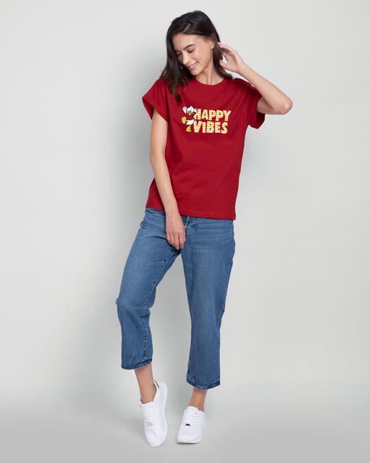 Shop Duck Happy Vibes Boyfriend T-Shirt (DL) Bold Red-Design