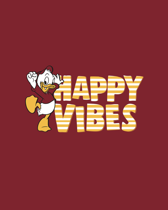 Shop Duck Happy Vibes Round Neck 3/4th Sleeve T-Shirt (DL) Scarlet Red