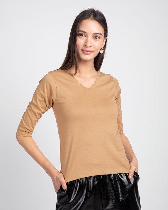 Shop Pastel Beige 3/4 V Neck T-Shirt-Front