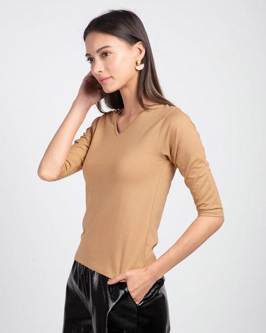 Shop Pastel Beige 3/4 V Neck T-Shirt-Back