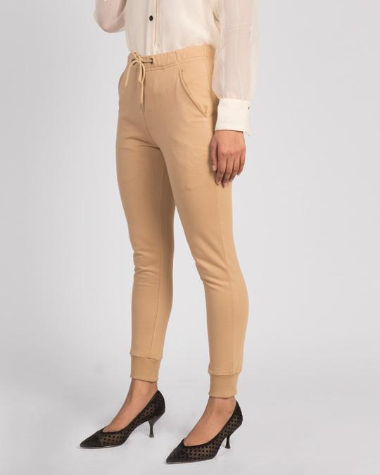 Shop Pastel Beige Casual Jogger Pants-Back