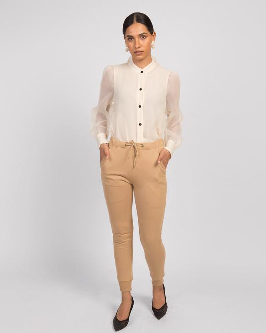 Shop Pastel Beige Casual Jogger Pants-Full