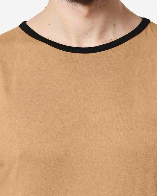 Shop Dusty Beige Contrast Binding Round Neck Vest