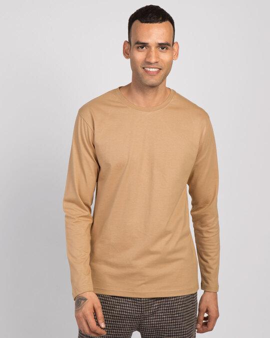 Shop Dusty Beige Full Sleeve T-Shirt-Front