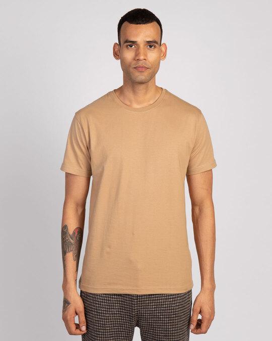 Shop Dusty Beige Half Sleeve T-Shirt-Back
