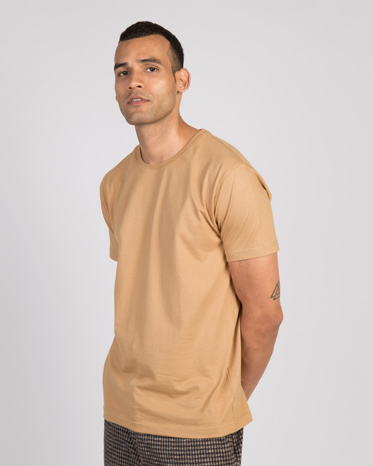 Shop Pastel Beige Half Sleeve T-Shirt-Back