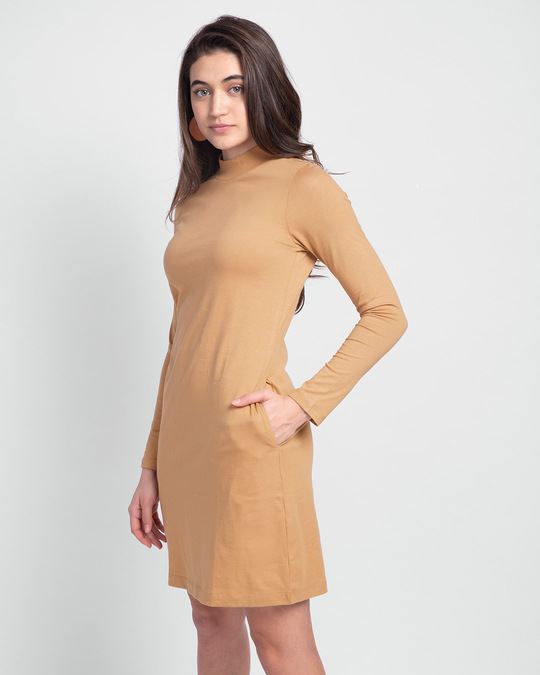 Shop Pastel Beige High Neck Pocket Dress-Back