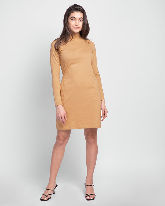 Shop Pastel Beige High Neck Pocket Dress-Full