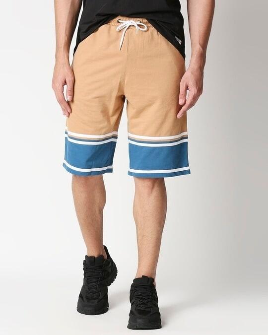 Shop Dusty Beige Men's Terry Color Block Shorts-Front