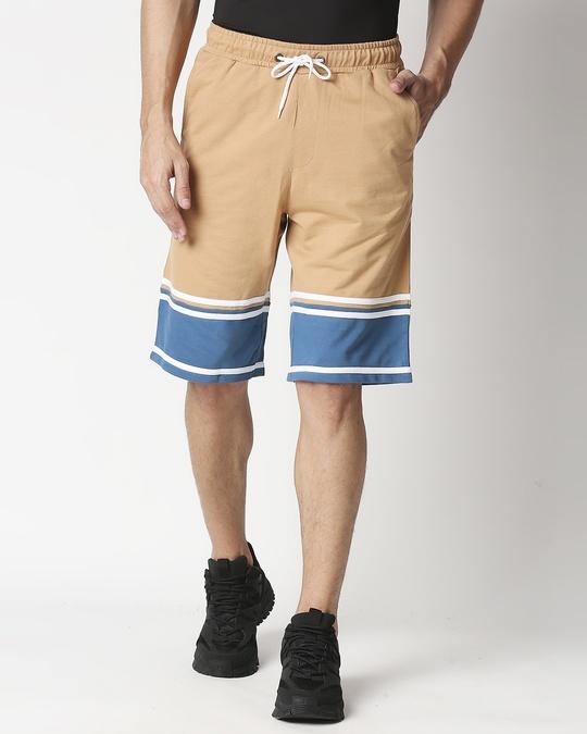 Shop Dusty Beige Men's Terry Color Block Shorts-Back