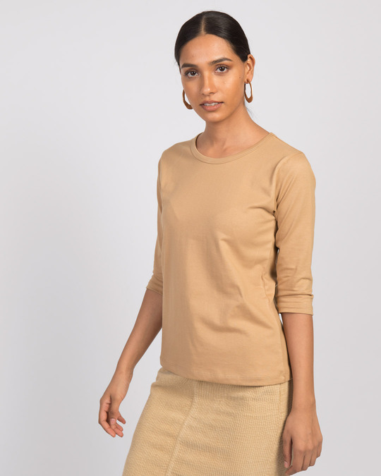 Shop Pastel Beige Round Neck 3/4th Sleeve T-Shirt-Back