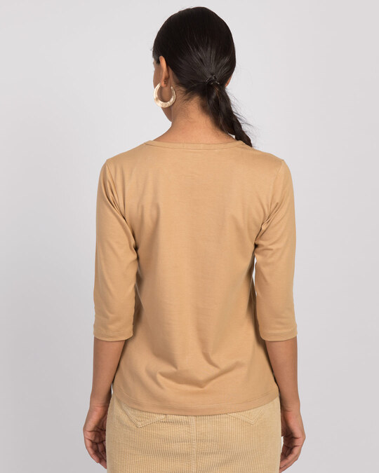 Shop Pastel Beige Round Neck 3/4th Sleeve T-Shirt-Design