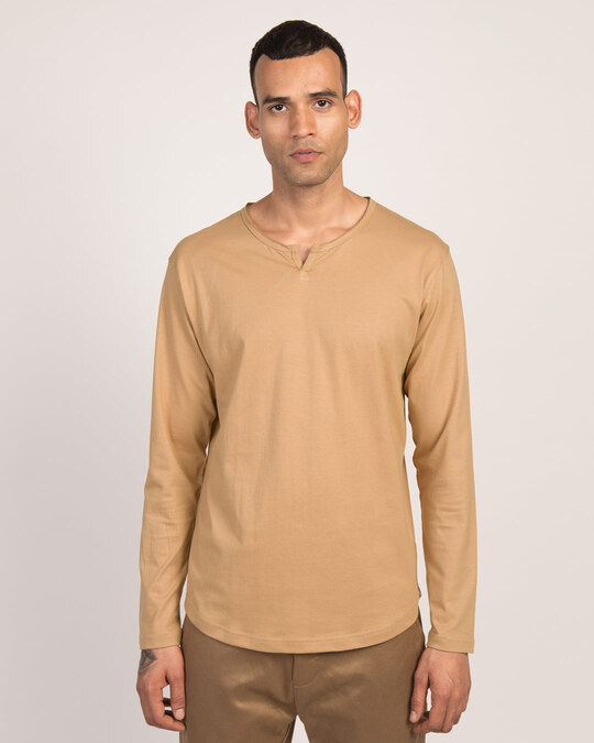 Shop Pastel Beige Slit Neck Full Sleeve Henley T-Shirt-Front