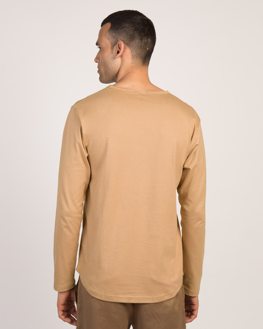 Shop Pastel Beige Slit Neck Full Sleeve Henley T-Shirt-Design