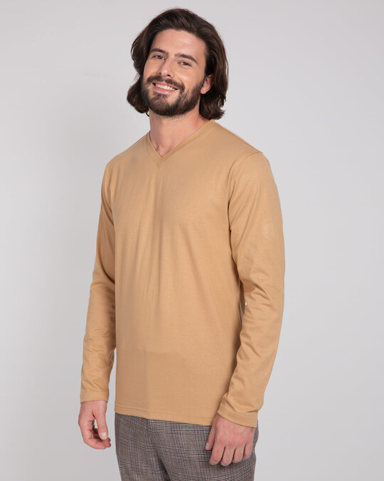 Shop Pastel Beige V-Neck Full Sleeve T-Shirt-Back