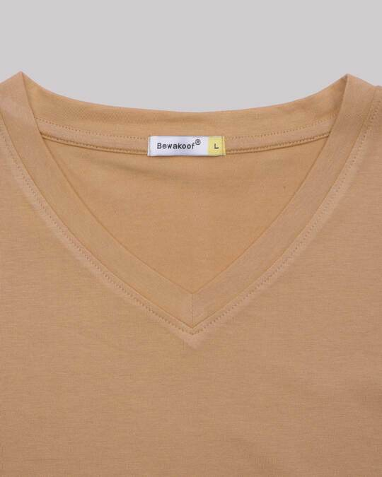 Shop Pastel Beige V-Neck Full Sleeve T-Shirt