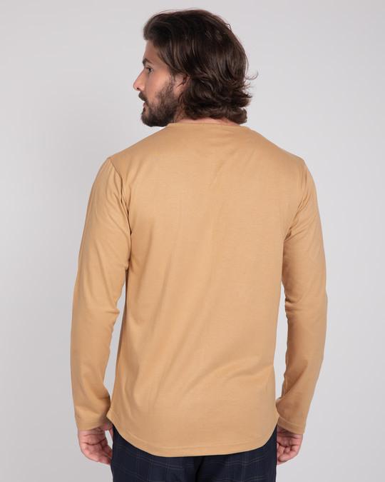 Shop Pastel Beige V-Neck Henley T-Shirt-Design
