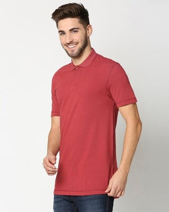 Shop Earth Red Half Sleeve Contrast Polo-Design
