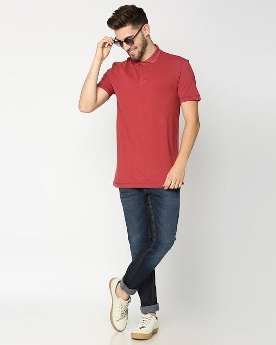 Shop Earth Red Half Sleeve Contrast Polo