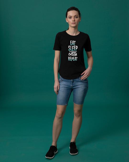 Shop Eat Sleep Lyadh Repeat Basic Round Hem T-Shirt