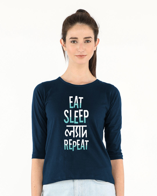Shop Eat Sleep Lyadh Repeat Round Neck 3/4th Sleeve T-Shirt-Front