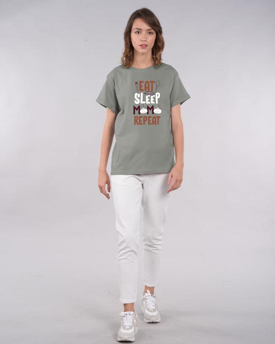 Shop Eat Sleep Momo Repeat Boyfriend T-Shirt-Full