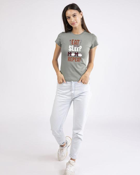 Shop Eat Sleep Momo Repeat Half Sleeve T-Shirt-Design