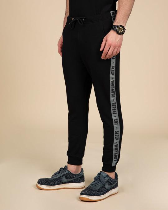 Shop Eat Sleep Workout Repeat Fleece Sports Trim Joggers-Design