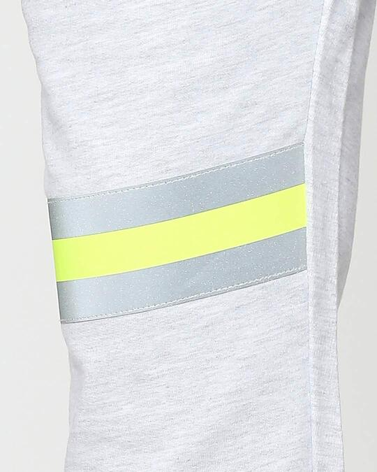 Shop Ecru Grey Melange-Neon Lime Reflector Jogger