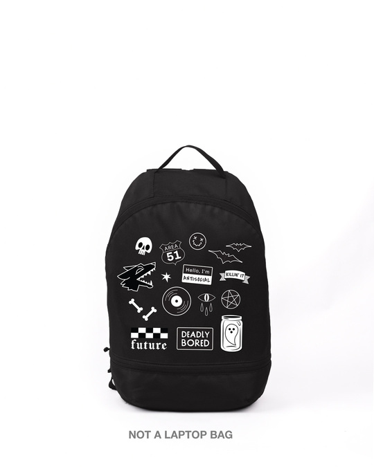 Shop Edgy Badges Printed Small Backpack-Front