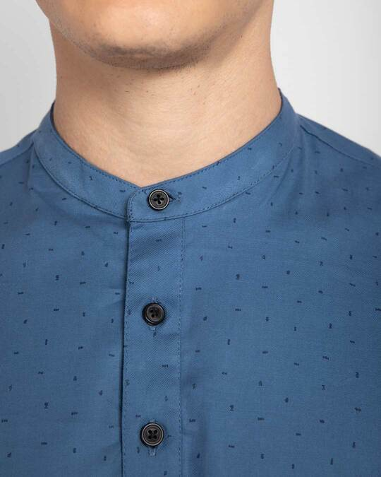 Shop Egyptian Blue  Slim Fit Printed Henley Shirt
