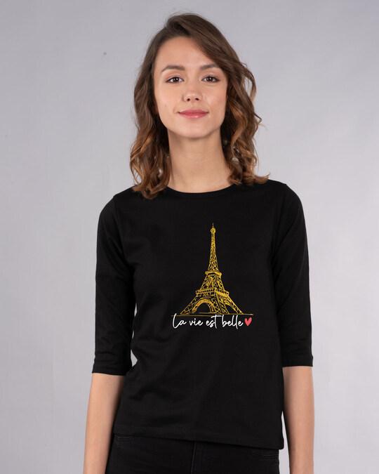 Shop Eiffel Belle Round Neck 3/4th Sleeve T-Shirt (GOLD PRINT)-Front