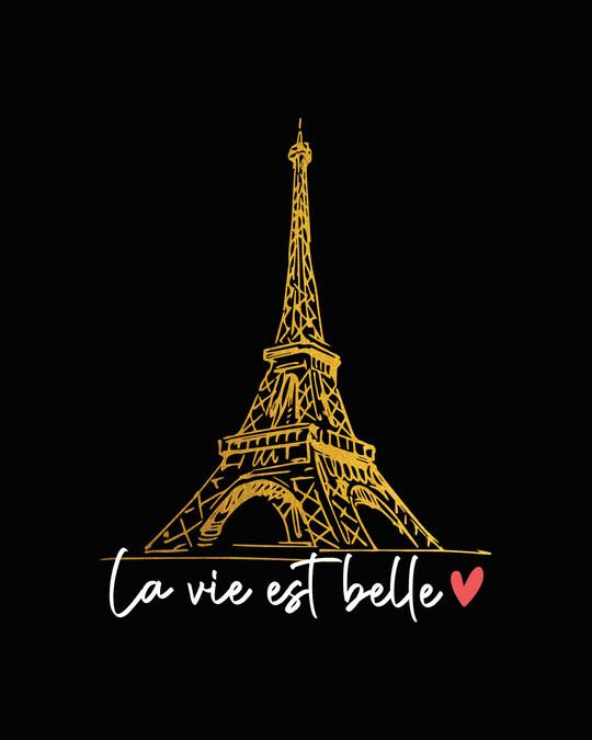 Shop Eiffel Belle Round Neck 3/4th Sleeve T-Shirt (GOLD PRINT)-Full