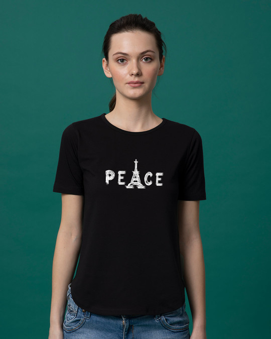 Shop Eiffel Peace Basic Round Hem T-Shirt-Front