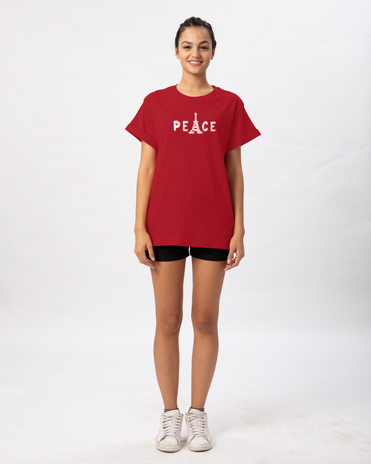 Shop Eiffel Peace Boyfriend T-Shirt-Full