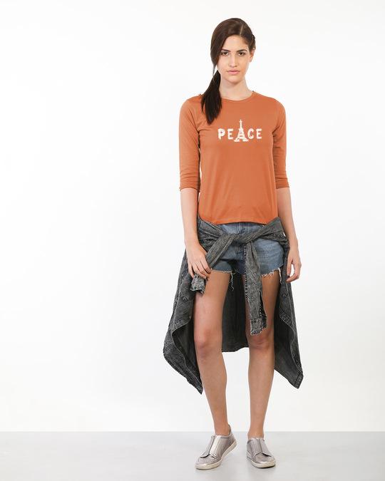 Shop Eiffel Peace Round Neck 3/4th Sleeve T-Shirt-Full