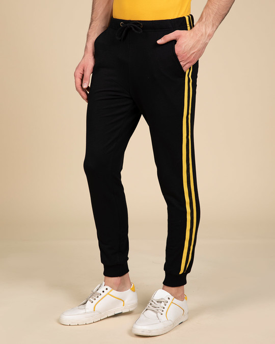 Shop Electric Banana Fleece Sports Trim Joggers-Front