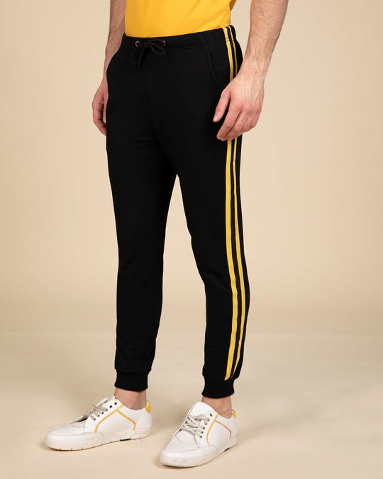 Shop Electric Banana Fleece Sports Trim Joggers-Back