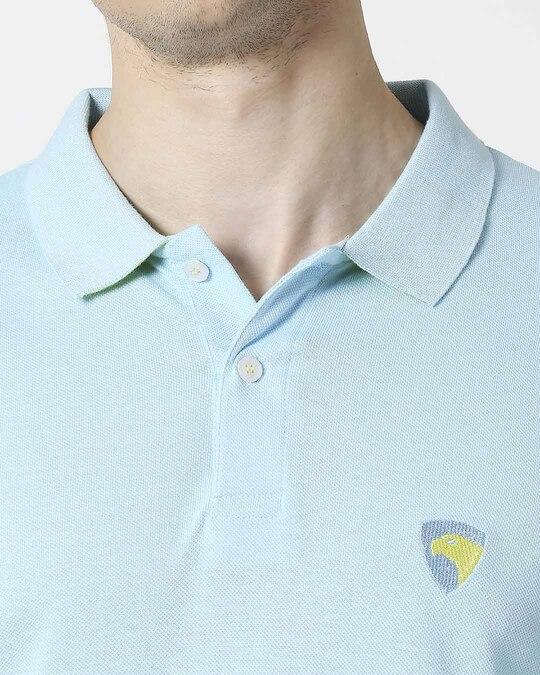 Shop Electric blue-Neon Lime Contrast Collar Pique Polo T-Shirt