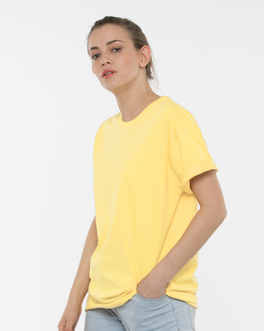 Shop Electric Yellow Boyfriend T-Shirt-Front