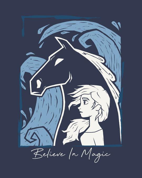 Shop Elsa Believe Round Neck 3/4th Sleeve T-Shirt (DL)